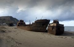 russia abandoned ship sakhalin island russian - stock photo