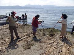 Stock Photo of el salvador team cleaning lake llopango of