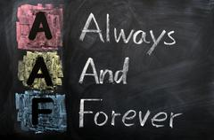 acronym of aaf for always and forever - stock photo