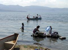 el salvador lake llopango central america rural - stock photo