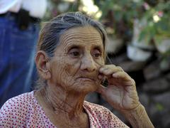 El salvador old woman female of paisnal central Stock Photos