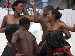 Tanzania dance at bugando hospital medical Stock Photos