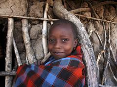 Tanzania watatulu tribal child kid at mwankale Stock Photos