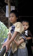 Thaimaa Mae la Burman pakolaisleirillä sot lapset Kuvituskuvat