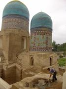 uzbekistan restoring the necropolis samarkand - stock photo
