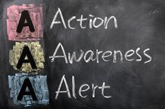 acronym of aaa for action,awareness,alert - stock photo