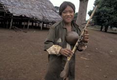 Cambodia ra khan playing musical instrument kres Stock Photos