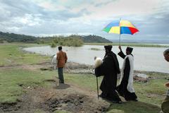 ethiopia archbishop gregorius visiting tullo and - stock photo