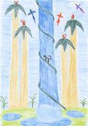 Kids drawing - tropical waterfall Stock Illustration
