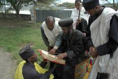 ethiopia orthodox archbishop gregorius visiting - stock photo