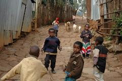 Ethiopia slum area called kabille addis ababa Stock Photos