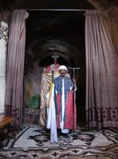 ethiopia priest of golgotha church holding cross - stock photo