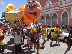 brazil carnival procession crowd of revellers in - stock photo
