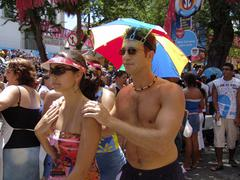 brazil carnival crowd of revellers in the street - stock photo