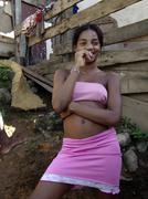 brazil girl living in the favela of santa lucia - stock photo
