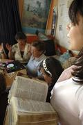 Colombia women females group meet for an prayer Stock Photos
