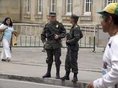 colombia soldiers on duty in front of the palace - stock photo