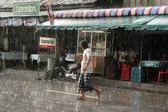 Thailand rain downpour in pattani photo 2005 Stock Photos