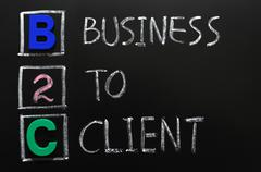 Acronym of b2c - business to client Stock Photos