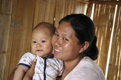 Thailand mother baby chiang dao village near mai Stock Photos