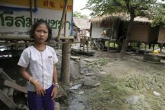 thailand teenage girl living in slum of chiang - stock photo