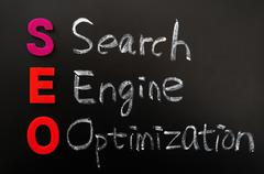 Acronym of seo - search engine optimization Stock Photos