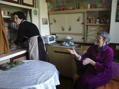 Bulgaria home help at apartment of old lady in Stock Photos