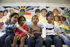 Usa illegal migrant children kids at shelter in Stock Photos