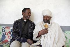 Ethiopia two priests of wutafa tigray the ge ez Stock Photos