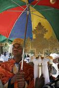 Ethiopia deacons holding crosses during feast of Stock Photos