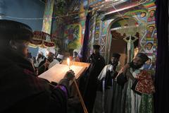 Ethiopia bishop reading scriptures interior of Stock Photos
