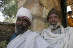 Ethiopia old men males at the abuna garmina Stock Photos