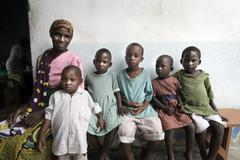 Kenya with aids orphans three of whom are hiv Stock Photos