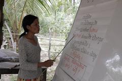 Cambodia adult literacy class prey yav village Stock Photos