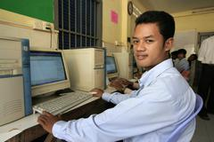 cambodia computer students at vocational course - stock photo