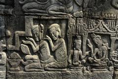 cambodia detal of bas relief the bayon temple - stock photo