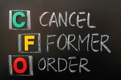 acronym of cfo - cancel former order - stock photo
