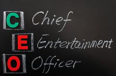 acronym of ceo - chief entertainment officer - stock photo