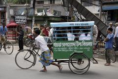 Bangladesh small cycle drawn vehicle for school Stock Photos