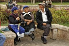china old timers of the naxi minority having - stock photo