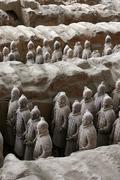 china detal of terracotta warriors xi an shaanxi - stock photo