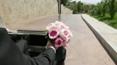 Going groom with a bouquet Stock Footage