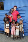 Namibia nainen naisten kanssa köyhät lapset lapset Kuvituskuvat
