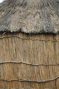 namibia detal of the wall dwelling hut made - stock photo