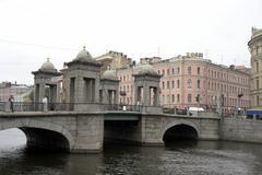 Russia anichkov bridge on nevsky prospect saint Stock Photos