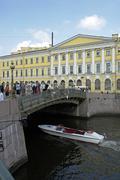 russia bridge over river moyka saint st. st - stock photo