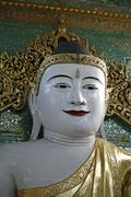 Myanmar giant buddha statue at buddhist temple Stock Photos