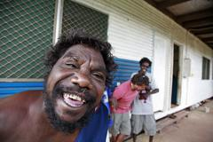 Australia men males in the aborigine community Stock Photos