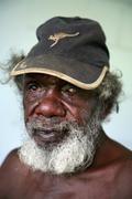 australia older aborigine man male community of - stock photo