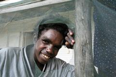 australia amos an aboriginal youth aborigine of - stock photo